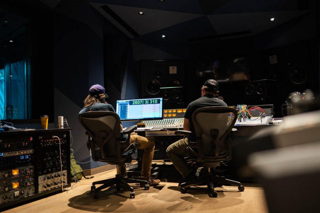 two men in a recording studio