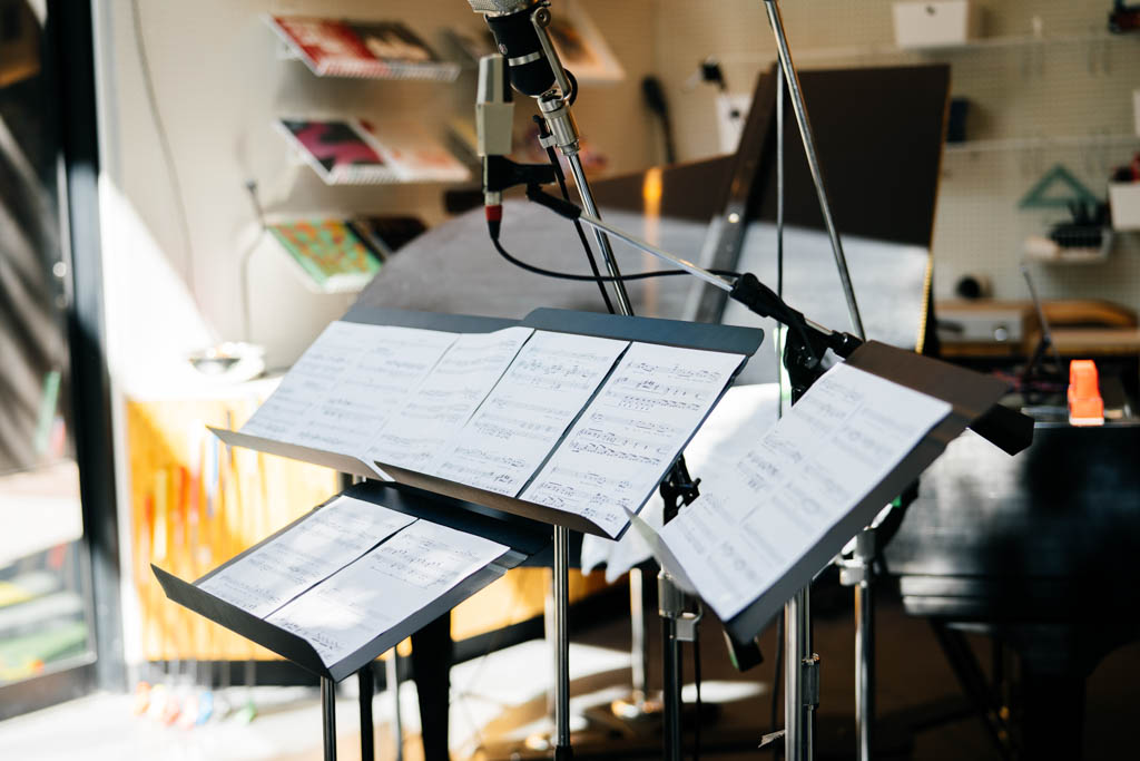 Music stand holding sheet music